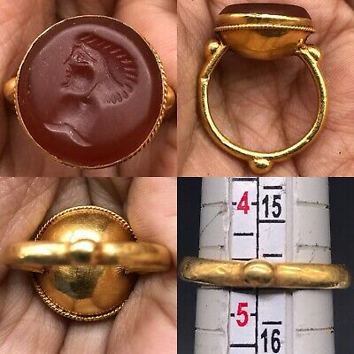 wonderful Ancient Agate stone 18 karat King face intaglio seal stone Ring