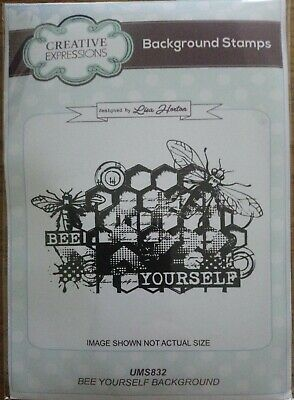 Creative Expressions A6 Foam Mounted Rubber Background Stamp Bee Yourself