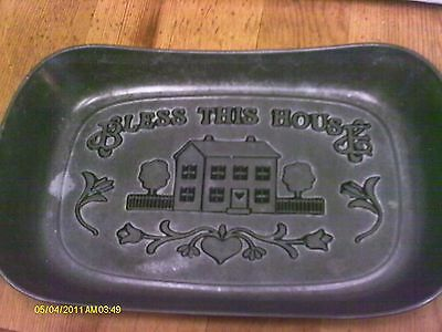Wilton Armetale Serveware Bless This House Home 601013 Pewter Bread Serving Dish
