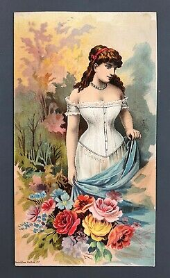 1890s Fittings Corsets Victorian Trade Card Worcester MA Roche & Co 403 Main St