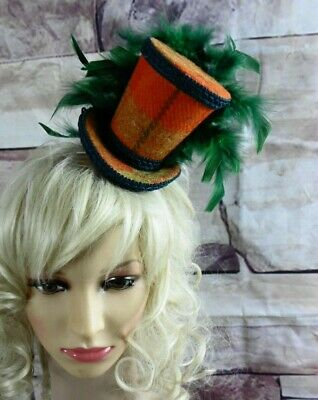 Stunning Genuine HARRIS TWEED Mini Top Hat Fascinator Orange Tartan Green (HT4)a
