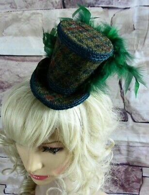 Stunning Genuine HARRIS TWEED Mini Top Hat Fascinator Green (HT4)a