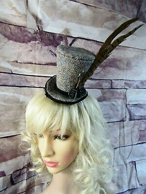 Stunning Genuine HARRIS TWEED Mini Top Hat Fascinator Brown (HT1)