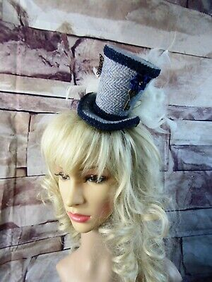 Stunning Genuine HARRIS TWEED Mini Top Hat Fascinator Blue Herringbone (HT1)