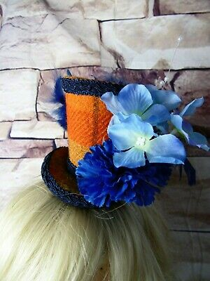 Stunning Genuine HARRIS TWEED Mini Top Hat Fascinator Orange Tartan Blue (HT3)