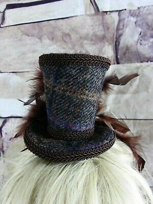 Genuine HARRIS TWEED Mini Top Hat Fascinator Brown Tartan Races Wedding (HT5)