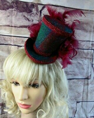 Stunning Genuine HARRIS TWEED Mini Top Hat Fascinator Green Burgundy (HT1)