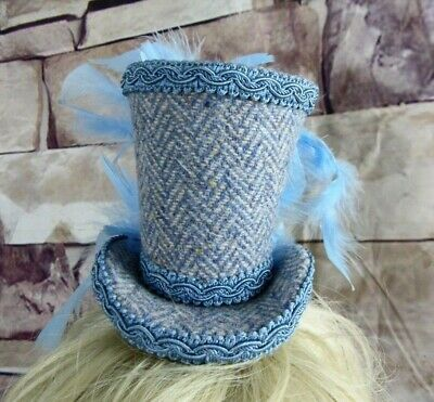 Genuine HARRIS TWEED Mini Top Hat Fascinator Blue Herringbone Wedding  (HT5)a
