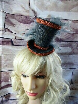 Stunning Genuine HARRIS TWEED Mini Top Hat Fascinator Grey Terracotta (HT1)