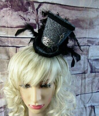 Stunning Genuine HARRIS TWEED Mini Top Hat Fascinator Herringbone Black (HT1)