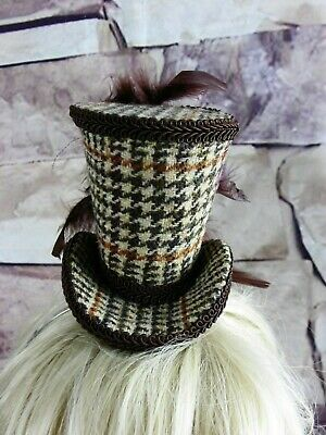 Genuine HARRIS TWEED Mini Top Hat Fascinator Brown Dog Tootrh (HT5)