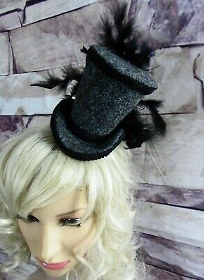 Genuine HARRIS TWEED Mini Top Hat Fascinator Grey Races Wedding Steampunk (HT5)