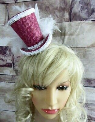 Genuine HARRIS TWEED Mini Top Hat Fascinator Pink Herringbone White (HT7)