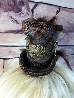 Stunning Genuine HARRIS TWEED Mini Top Hat Fascinator Brown Blue Tartan (HT1)