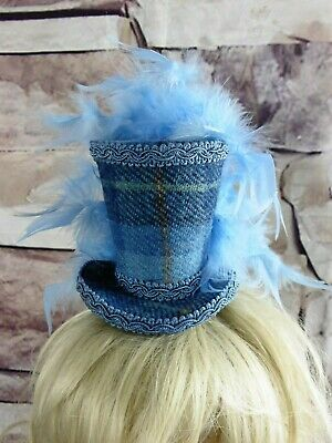 Stunning Genuine HARRIS TWEED Mini Top Hat Fascinator Blue Tartan (HT4)a