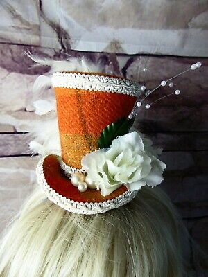 Stunning Genuine HARRIS TWEED Mini Top Hat Fascinator Orange Tartan (HT2)f