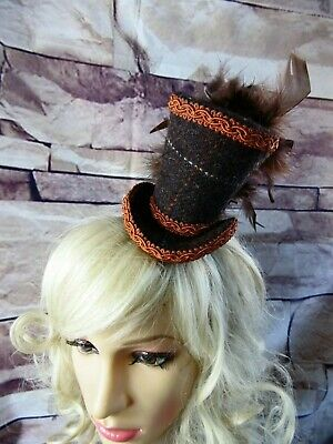 Stunning Genuine HARRIS TWEED Mini Top Hat Fascinator Brown Terracotta (HT1)