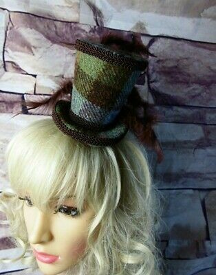 Stunning Genuine HARRIS TWEED Mini Top Hat Fascinator Brown Green Tartan (HT1)