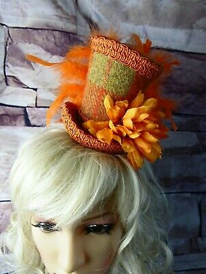 Stunning Genuine HARRIS TWEED Mini Top Hat Fascinator Orange Tartan (HT2)a