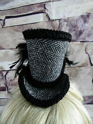 Genuine HARRIS TWEED Mini Top Hat Fascinator Black Grey Herringbone  (HT5)