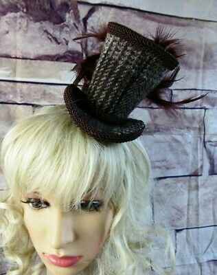 Stunning Genuine HARRIS TWEED Mini Top Hat Fascinator Brown (HT1)1
