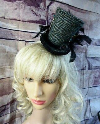 Stunning Genuine HARRIS TWEED Mini Top Hat Fascinator Herringbone Green (HT1)