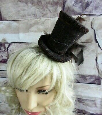 Genuine HARRIS TWEED Mini Top Hat Fascinator Brown Races Wedding Steampunk (HT5)