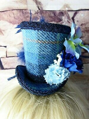 Stunning Genuine HARRIS TWEED Mini Top Hat Fascinator Blue Tartan (HT3)bb