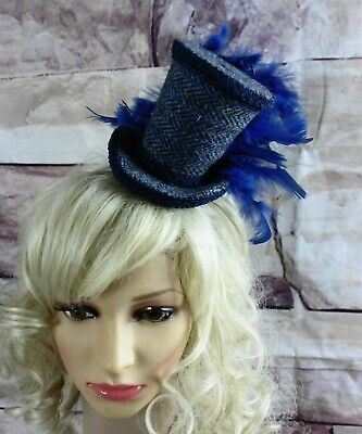 Stunning Genuine HARRIS TWEED Mini Top Hat Fascinator Blue Herringbone (HT4)a