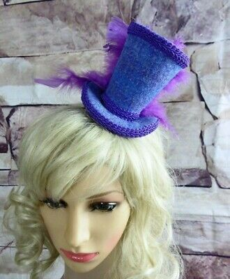 Genuine HARRIS TWEED Mini Top Hat Fascinator Lilac Purple Races Wedding (HT7)