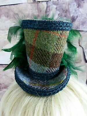 Stunning Genuine HARRIS TWEED Mini Top Hat Fascinator Brown Green Tartan (HT4)a