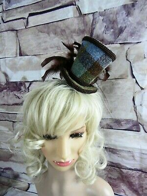 Genuine HARRIS TWEED Mini Top Hat Fascinator Brown Tartan Wedding (HT5)d