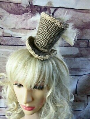 Genuine HARRIS TWEED Mini Top Hat Fascinator Brown Cream Herringbone (HT1)