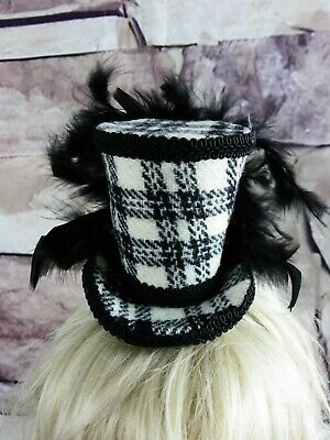 Stunning Genuine HARRIS TWEED Mini Top Hat Fascinator Black White Tartan (HT4)a