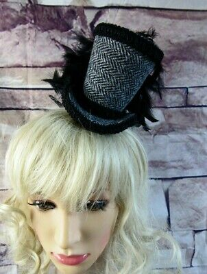 Stunning Genuine HARRIS TWEED Mini Top Hat Fascinator Black Herringbone (HT1)1