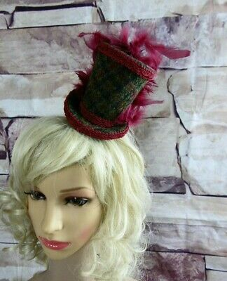 Genuine HARRIS TWEED Mini Top Hat Fascinator Burgundy Green Check  (HT5)a