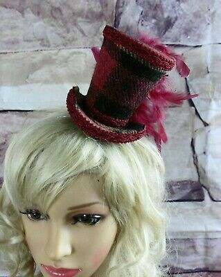 Genuine HARRIS TWEED Mini Top Hat Fascinator Burgundy Tartan Races Wedding (HT5)