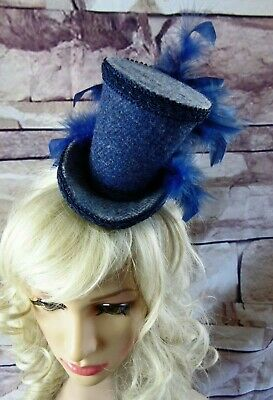 Genuine HARRIS TWEED Mini Top Hat Fascinator Two Tone Blue Herringbone (HT1)a