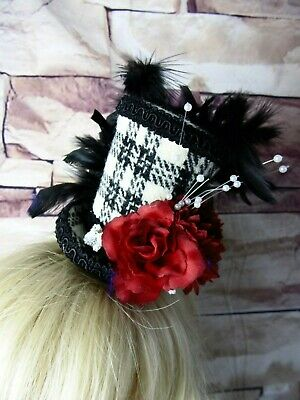 Stunning Genuine HARRIS TWEED Mini Top Hat Fascinator Black White Tartan Red HT3
