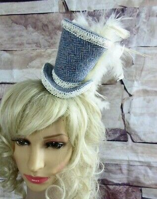Genuine HARRIS TWEED Mini Top Hat Fascinator Blue Herringbone Cream (HT5)a