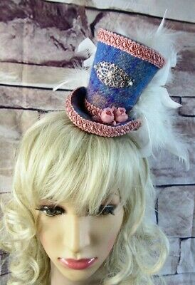 Stunning Genuine HARRIS TWEED Mini Top Hat Fascinator Blue Pink Tartan (HT1)