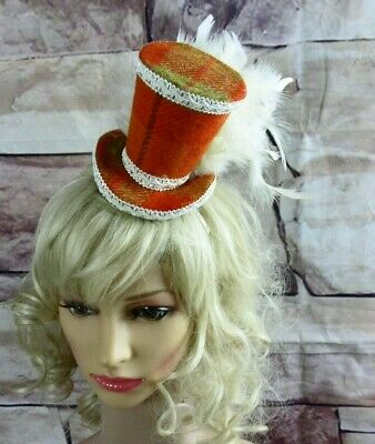 Stunning Genuine HARRIS TWEED Mini Top Hat Fascinator Orange Tartan Cream (HT4)a
