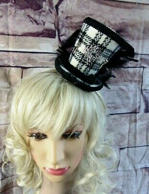 Stunning Genuine HARRIS TWEED Mini Top Hat Fascinator Tartan (HT1) Steampunk