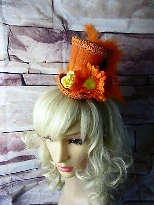 Stunning Genuine HARRIS TWEED Mini Top Hat Fascinator Orange Tartan (HT2)g
