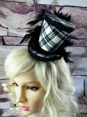 Stunning Genuine HARRIS TWEED Mini Top Hat Fascinator Tartan (HT1) Steampunk a