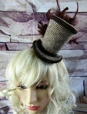 Stunning Genuine HARRIS TWEED Mini Top Hat Fascinator Brown Herringbone (HT1)a