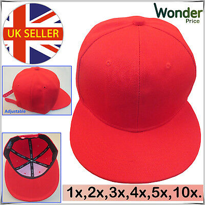Baseball Plain Snapback Summer Unisex Flat Peak Funky Retro Sports Cap Red LOT