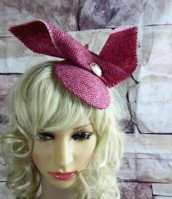 Stunning Genuine HARRIS TWEED Fascinator Pink Herringbone Wedding Races (HT7)b