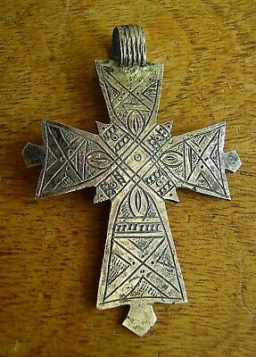 Antique Old Large Engraved Silver Crucifix Trade? Cross Pendant Rustic Naive