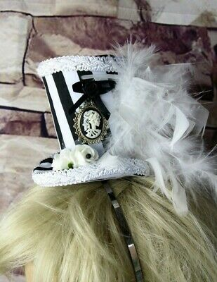Stunning Steampunk Mini Top Hat Fascinator Gothic Black White Skull Cameo  (HT3)